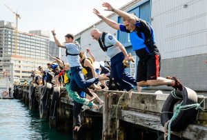 Maritime NZ Safer Boating Week Wharf Jump in Wellington. Photo by markcoote.com